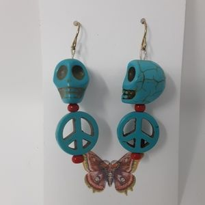 Refresh by Midori Jewelry - Handmade Skull & Peace Earrings Repurposed Beads ♻